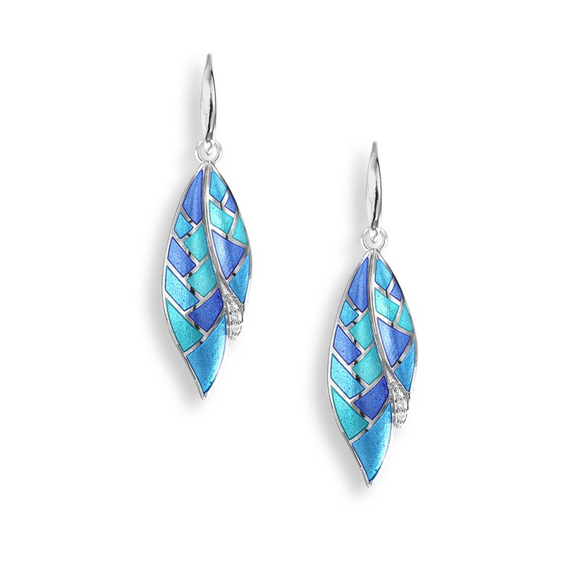 Nicole Barr Designs Blue Harliquin Feather Wire Earrings.Sterling Silver-White Sapphires
