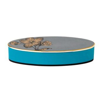 "Box Lidded Oval 8.3"" Turquoise"