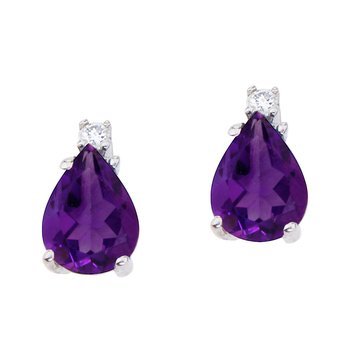 14k White Gold Pear Shaped Amethyst and Diamond Earrings