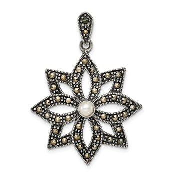 Sterling Silver Antiqued Marcasite & Imitation Pearl Flower Pendant