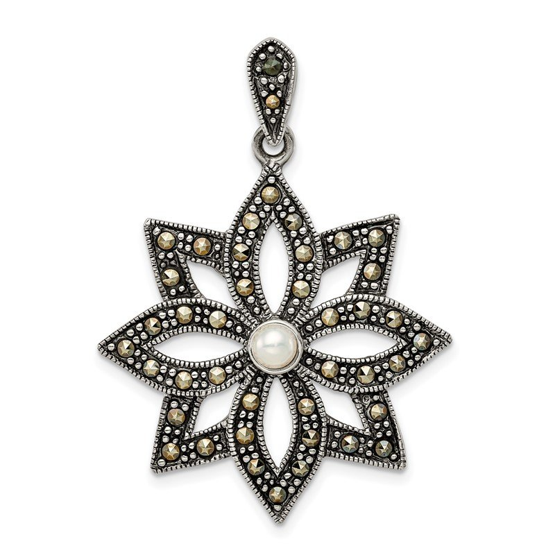 Quality Gold Sterling Silver Antiqued Marcasite & Imitation Pearl Flower Pendant