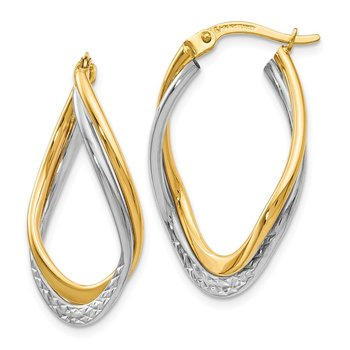 Leslie's 14K Two-tone Polished and Textured Oval Hoop Earrings