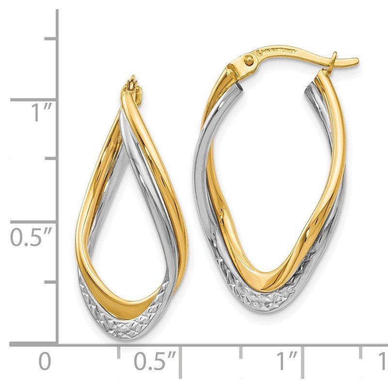 Leslie's Leslie's 14K Two-tone Polished and Textured Oval Hoop Earrings