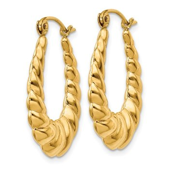 14k Polished Twisted Hollow Hoop Earrings