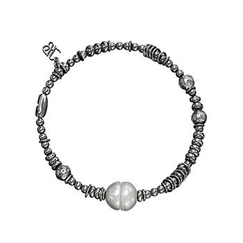 Honora Sterling Silver 9-9.5mm Ringed Black Freshwater Cultured Pearl Black Ruthenium Bead Stretch Bracelet