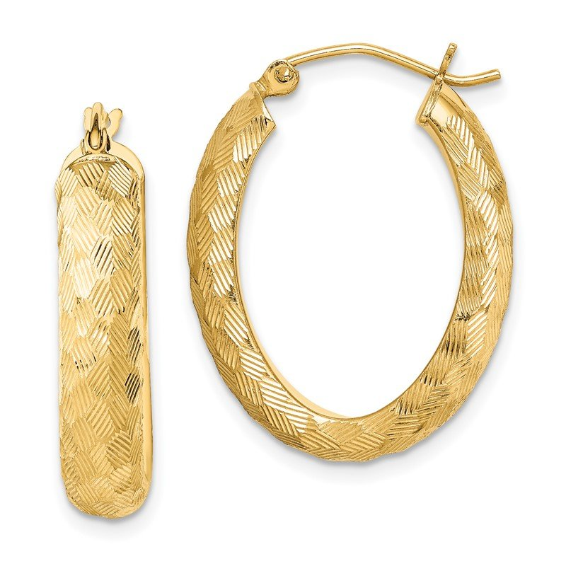 Quality Gold Sterling Silver Gold-plated Textured 5mm Oval Hoop Earrings