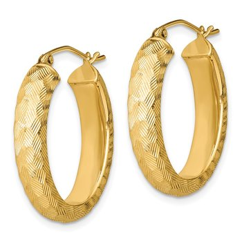 Sterling Silver Gold-plated Textured 5mm Oval Hoop Earrings