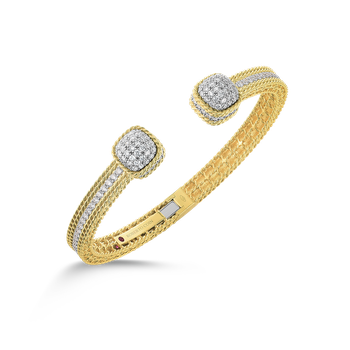 18KT GOLD BANGLE WITH DIAMOND DOME ENDS