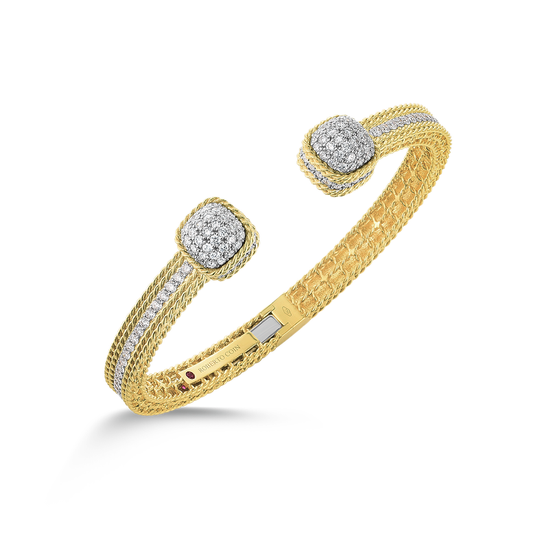 Roberto Coin 18Kt Gold Bangle With Diamond Dome Ends