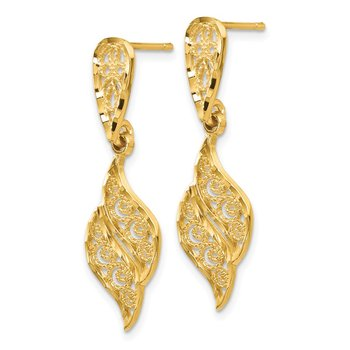 14k Polished & Diamond-Cut Filigree Swirl Dangle Post Earrings