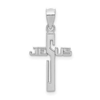 14K White Gold Polished JESUS Cross Pendant