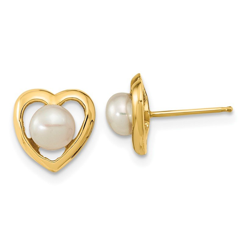 14k 4-5mm White Button Freshwater Cultured Pearl Post Earrings