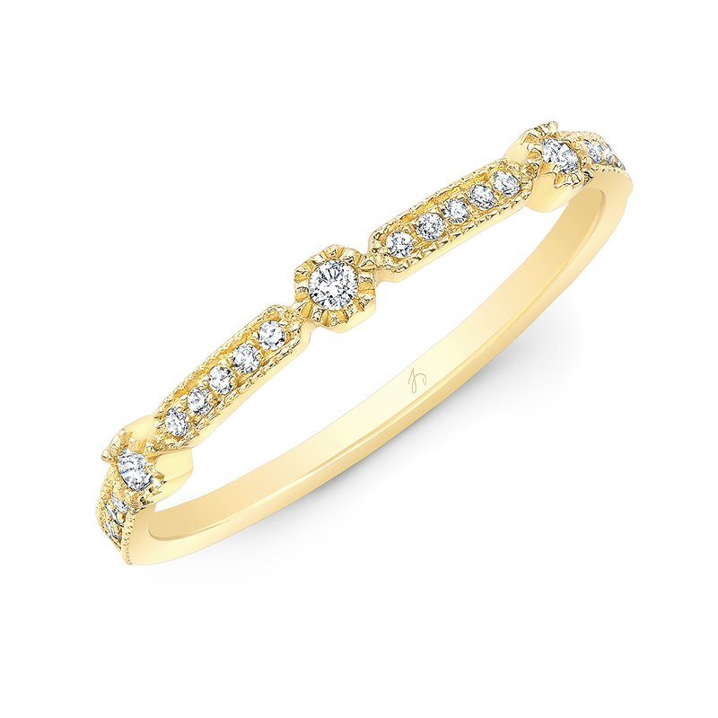 Robert Palma Designs Yellow Gold Milgrain Stackable Band
