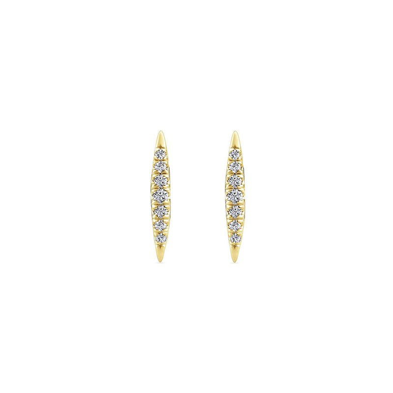 Gabriel Fashion 14K Yellow Gold Pavé Diamond Spiked Stud Earrings