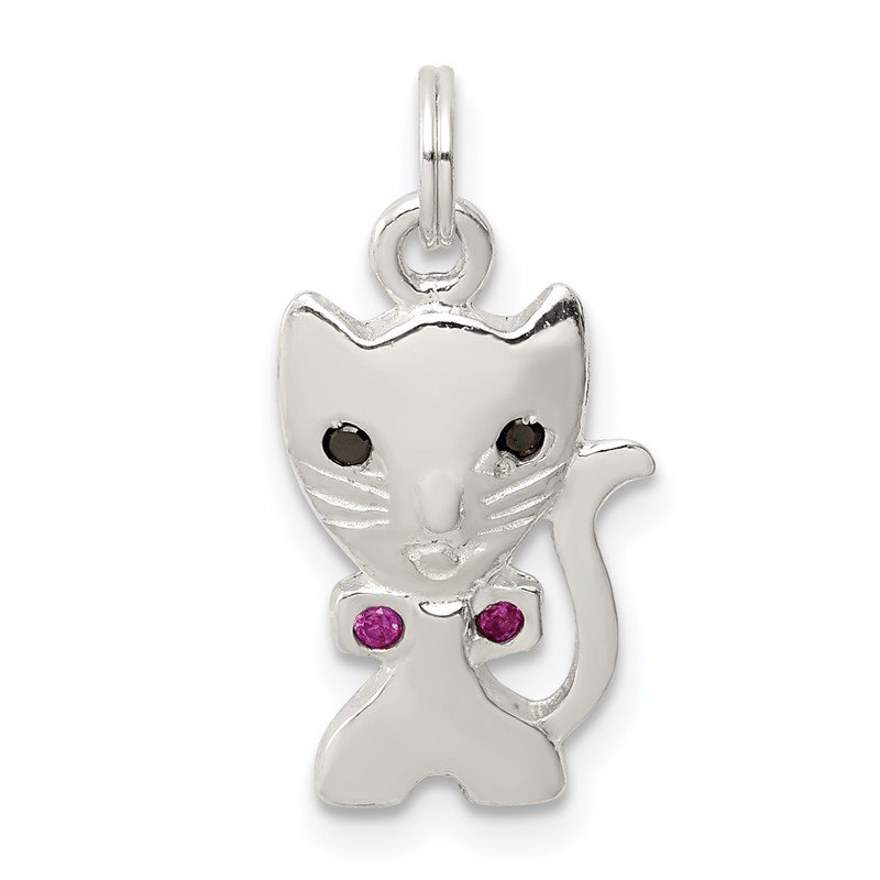 Quality Gold Sterling Silver Enameled Cat Charm