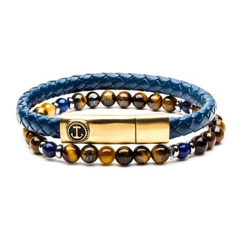 Blue/Gold Leather and Tiger Eye Stackable Bracelets