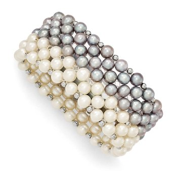 Sterling Silver White/Grey 6-7mm FW Cultured Potato Pearl Stretch Bracelet