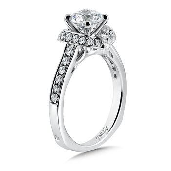 Inspired Vintage Collection Halo Engagement Ring with Side Stones in 14K White Gold with Platinum Head (1ct. tw.)