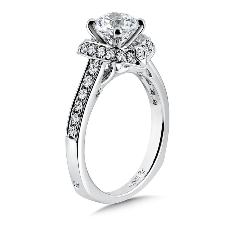 Caro74 Inspired Vintage Collection Halo Engagement Ring with Side Stones in 14K White Gold with Platinum Head (1ct. tw.)
