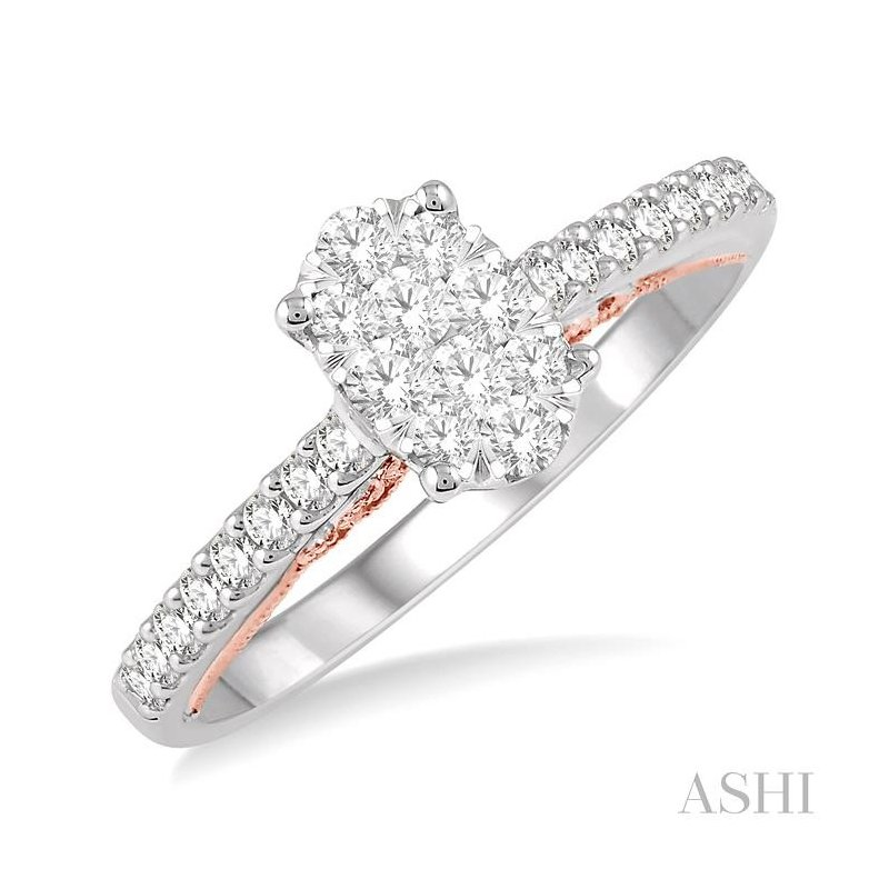 ASHI oval shape lovebright bridal diamond ring