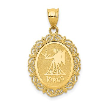 14k Solid Satin Polished Virgo Zodiac Oval Pendant