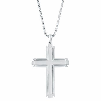 Stainless Steel Modest Cross Pendant - 24 Inch Box Chain