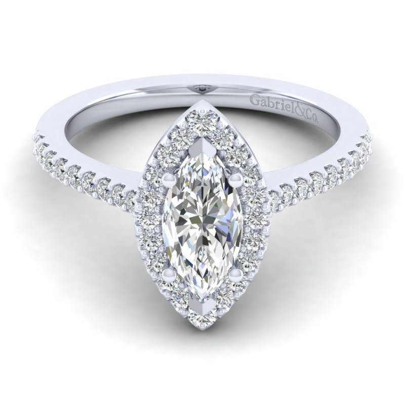 Gabriel  14K White Gold Marquise Halo Diamond Engagement Ring