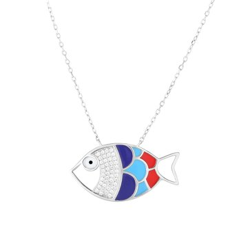 Silver Multi Color Enamel & CZ Fish Necklace