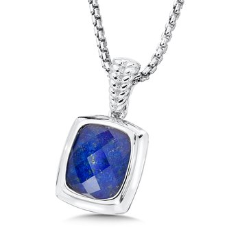 Sterling Silver Lapis and White Quartz Fusion Pendant