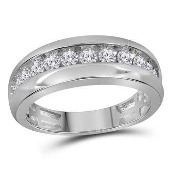 10kt White Gold Mens Round Diamond Single Row Wedding Band Ring 1.00 Cttw