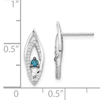 14k White Gold Blue/White Diamond Earrings