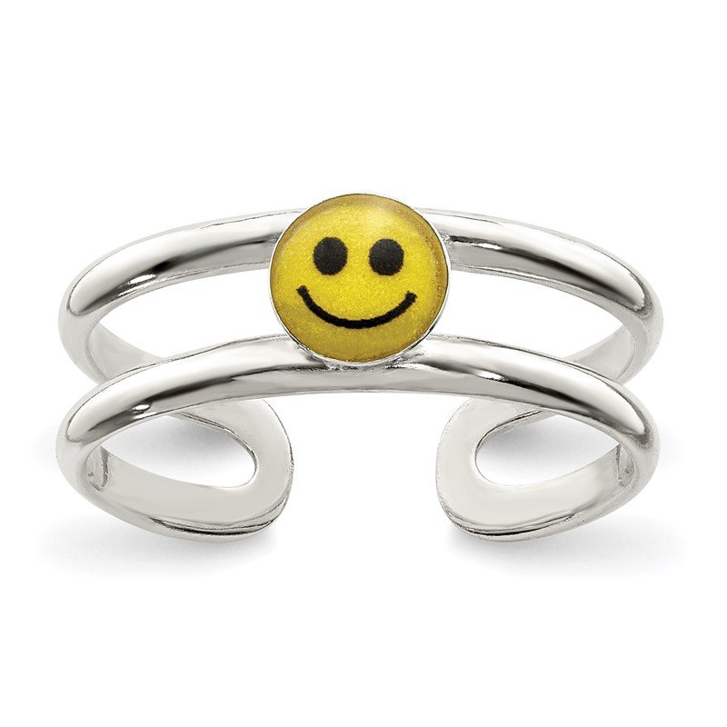 Quality Gold Sterling Silver Yellow & Black Enameled Smiley Toe Ring