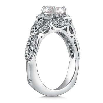 Diamond Halo Engagement Ring Mounting in 14K White Gold with Platinum Head (.55 ct. tw.)