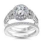 Caro74 Diamond Halo Engagement Ring Mounting in 14K White Gold with Platinum Head (.55 ct. tw.)