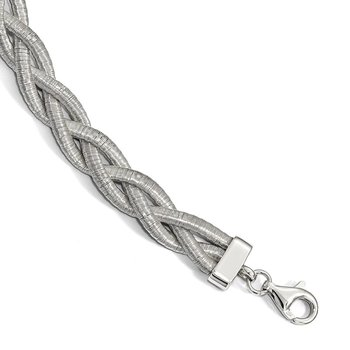 Leslie's Sterling Silver Rhodium-plated Braided with 1in ext. Bracelet