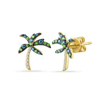 dainty 14K palm tree earrings with 14 diamonds 0.05ct, 14 blue diamonds 0.12ct & 18 green garnet 0.13ct 17mm long