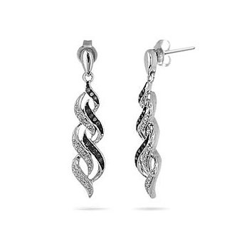 925 SS Black and White Diamond Flame Design Dangling Earring