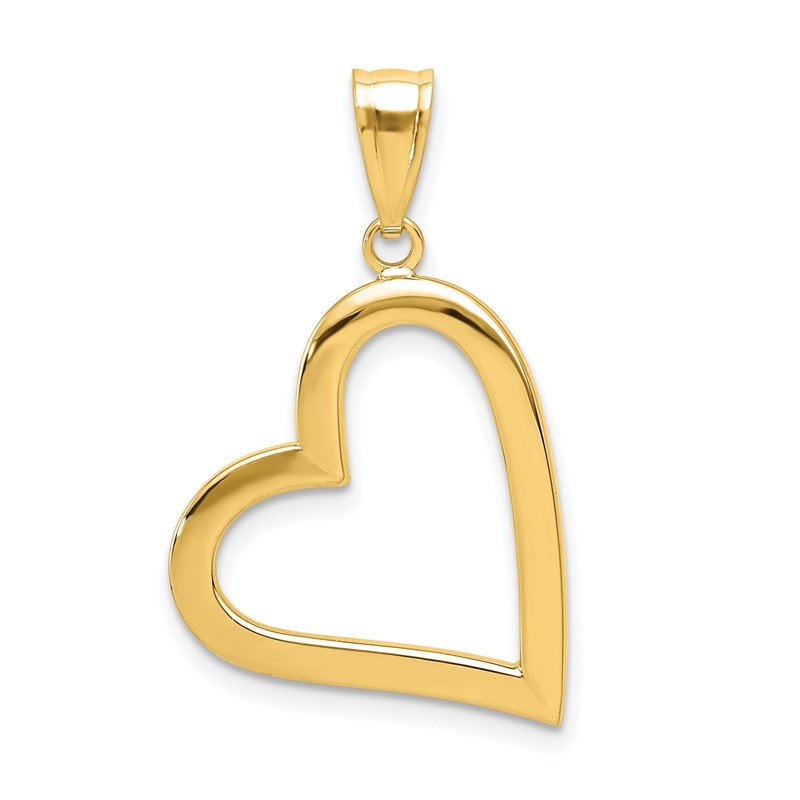 Quality Gold 14K Polished Crooked Heart Pendant