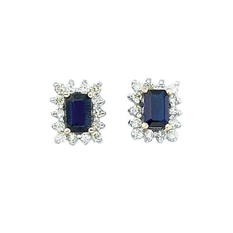 Color Merchants 14k Yellow Gold Diamond and Octagonal Sapphire Earring