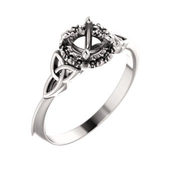 18K White 5.2 mm Round Celtic-Inspired Engagement Ring Mounting