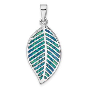 Sterling Silver Rhodium-plated Blue Created Opal Leaf Pendant