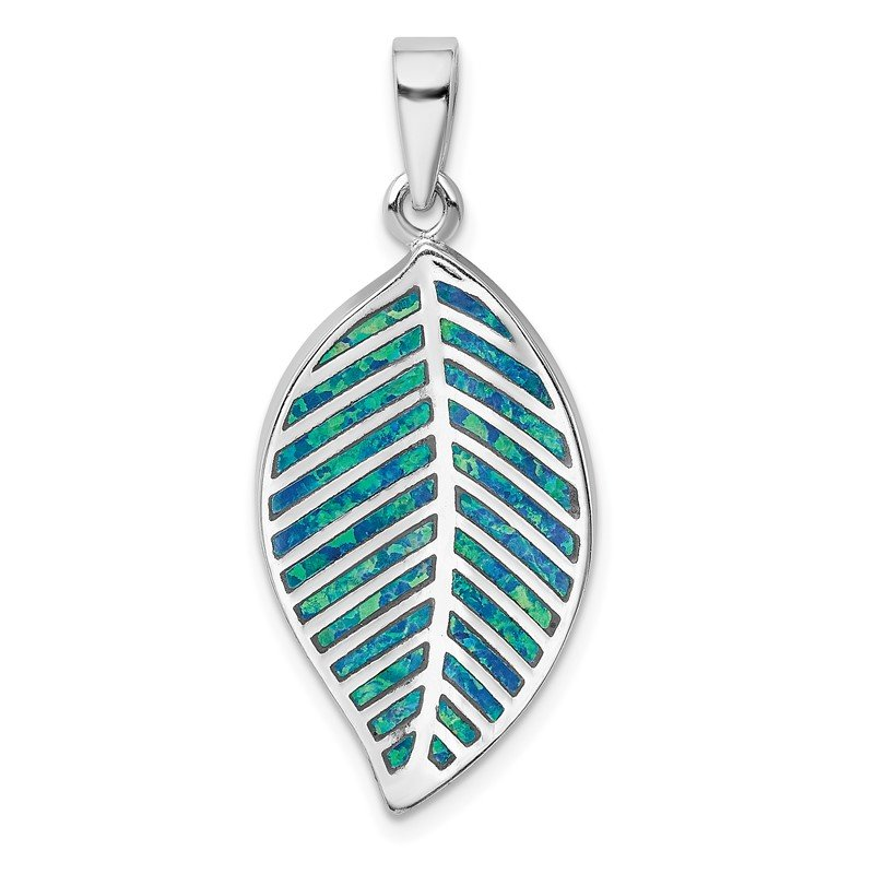 Quality Gold Sterling Silver Rhodium-plated Blue Created Opal Leaf Pendant