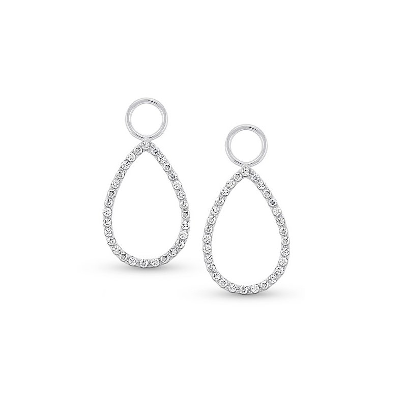 KC Designs Diamond Teardrop Earring Charms in 14k White Gold with 60 Diamonds weighing .34ct tw.
