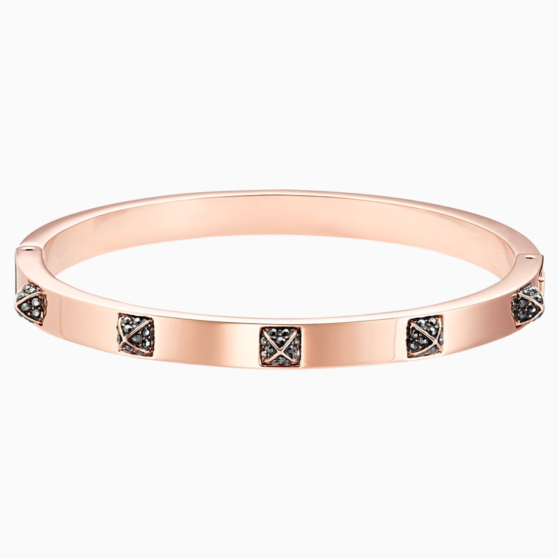 Swarovski Tactic Bangle, Black, Rose-gold tone plated