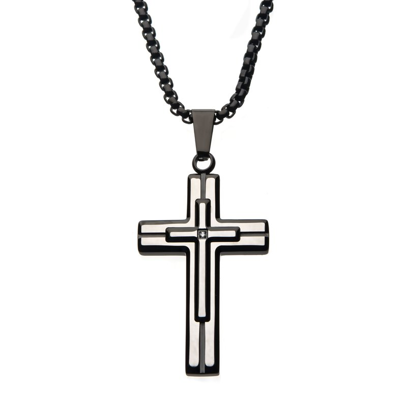 INOX Steel Brushed Black Plated with Clear Gem Cross Pendant with Black Bold Box Chain