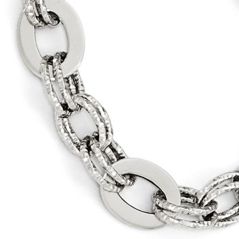 Leslie's 14K White Gold Polished D/C Bracelet
