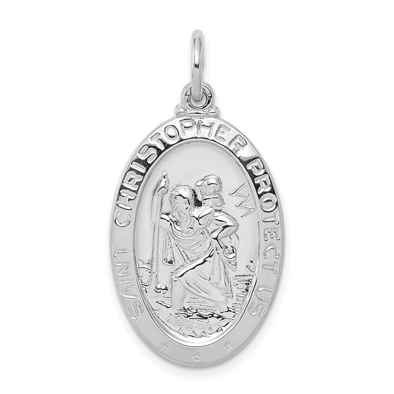 Quality Gold Sterling Silver Rhodium-plated Saint Christopher Medal