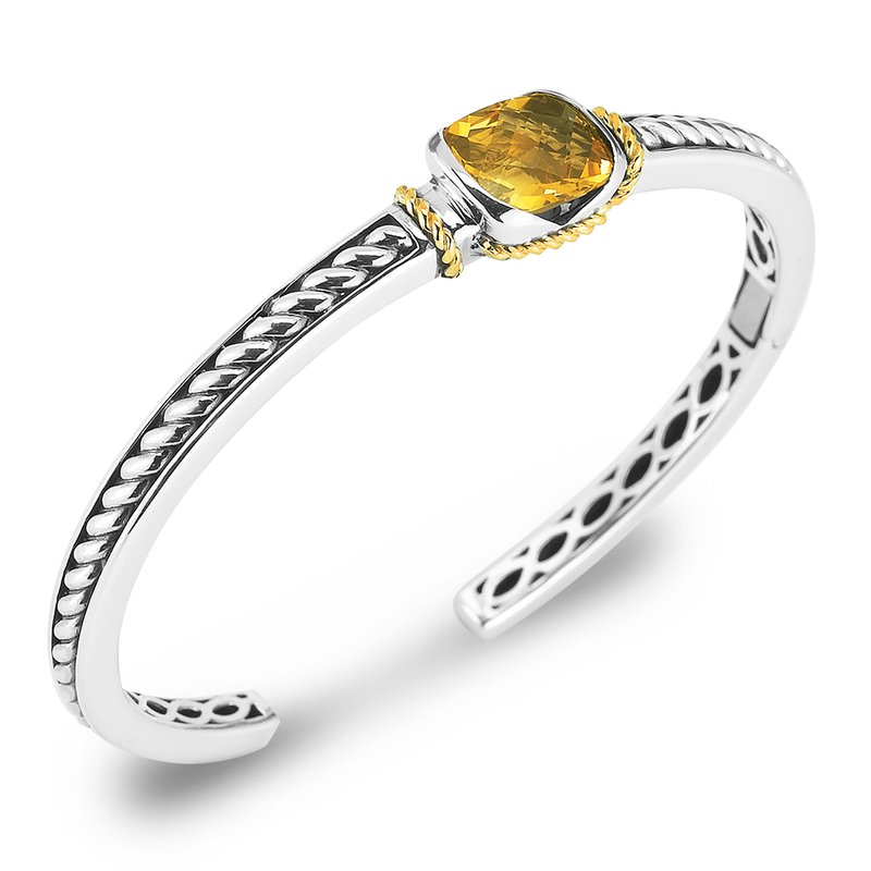 Shula NY Sterling Silver and 14K Yellow Gold Citrine Bangle.