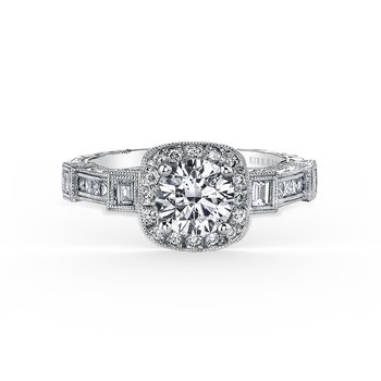 Engraved Halo Diamond Engagement Ring