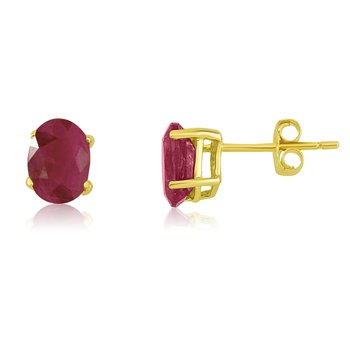 14k Yellow Gold Oval Ruby Stud Earring